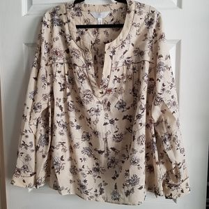 Boho Floral Print Long Sleeve Top